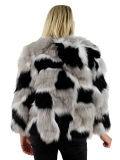 Woman's Black, Tan and White Fox Fur Jacket