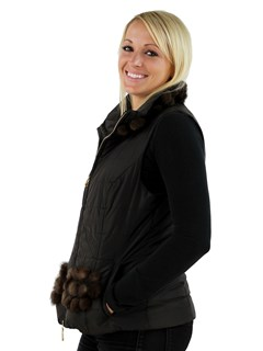 Woman's Brown Fabric Vest with Mink Fur Trim