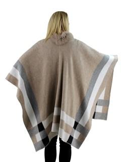 Woman's Beige Woven Fabric Cape