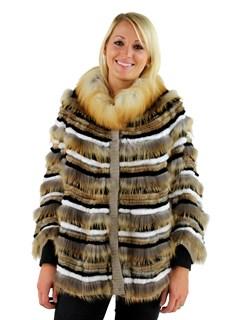 Woman's Gold Tones Fox and Rabbit Fur Cape