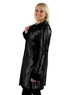 Woman's Black Spark Reversible Astragan  Lambskin Shearling Stroller