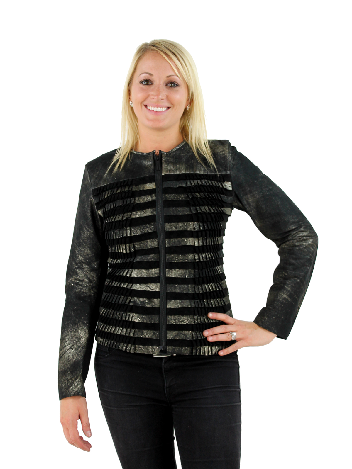 Woman's Black and Brushed Gold Suede Jacket