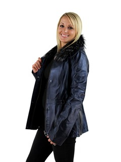 Woman's Pacific Blue Lambskin Leather Jacket