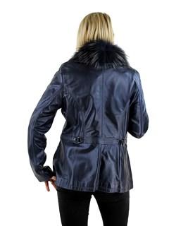Woman's Pacific Blue Lambskin Leather Jacket