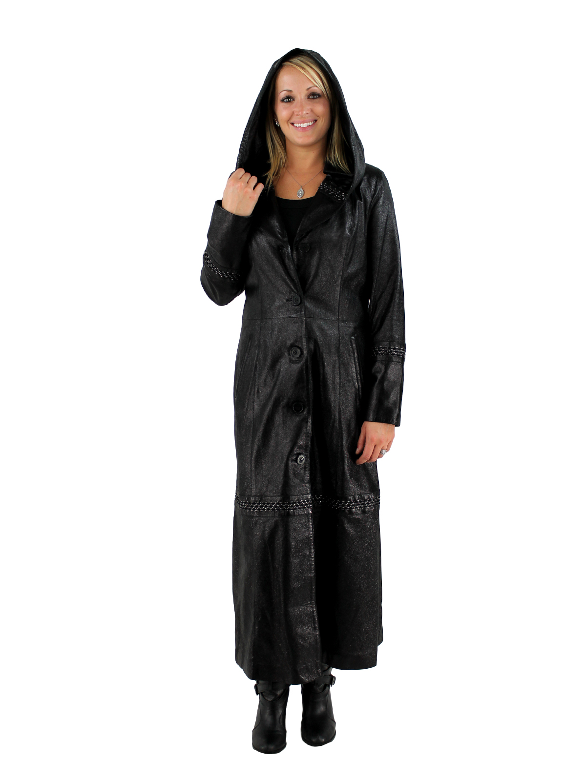 Woman's Black Caviar Spark Leather Hooded Full Length Coat