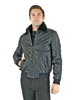 Man's Navy Leather Puffer Jacket with Shearling Lamb Collar