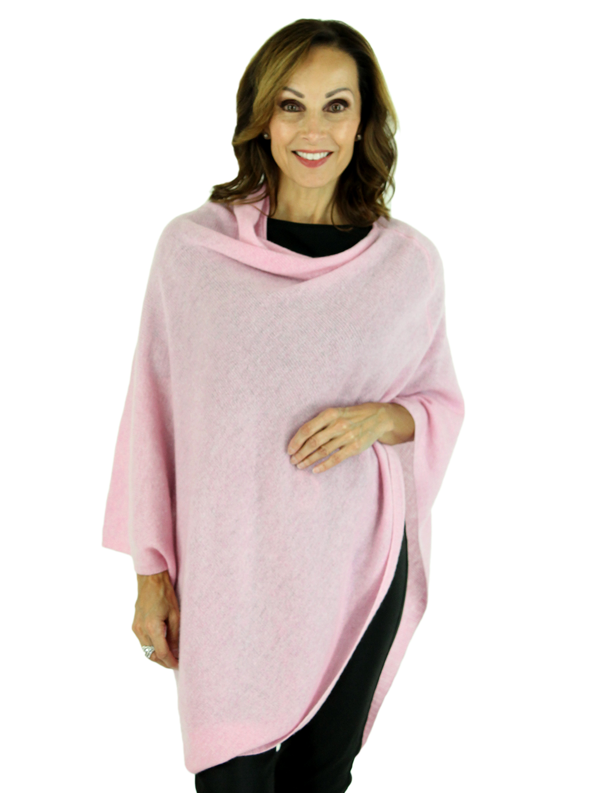 Woman's Light Pink Cashmere Wool Knit Poncho