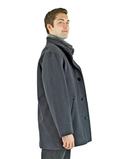 Man's Navy Cashmere Wool Jacket with Shearling Lamb Collar