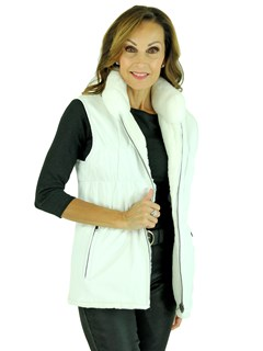Woman's White Sheared Rex Rabbit Fur and Knit Vest Reveres to White Leather and Knit