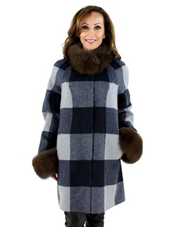 Women's Navy and Grey Plaid Wool Stroller with Brown Fox Fur Trim