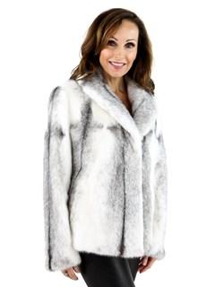 Women's White and Black Cross Mink Fur Jacket