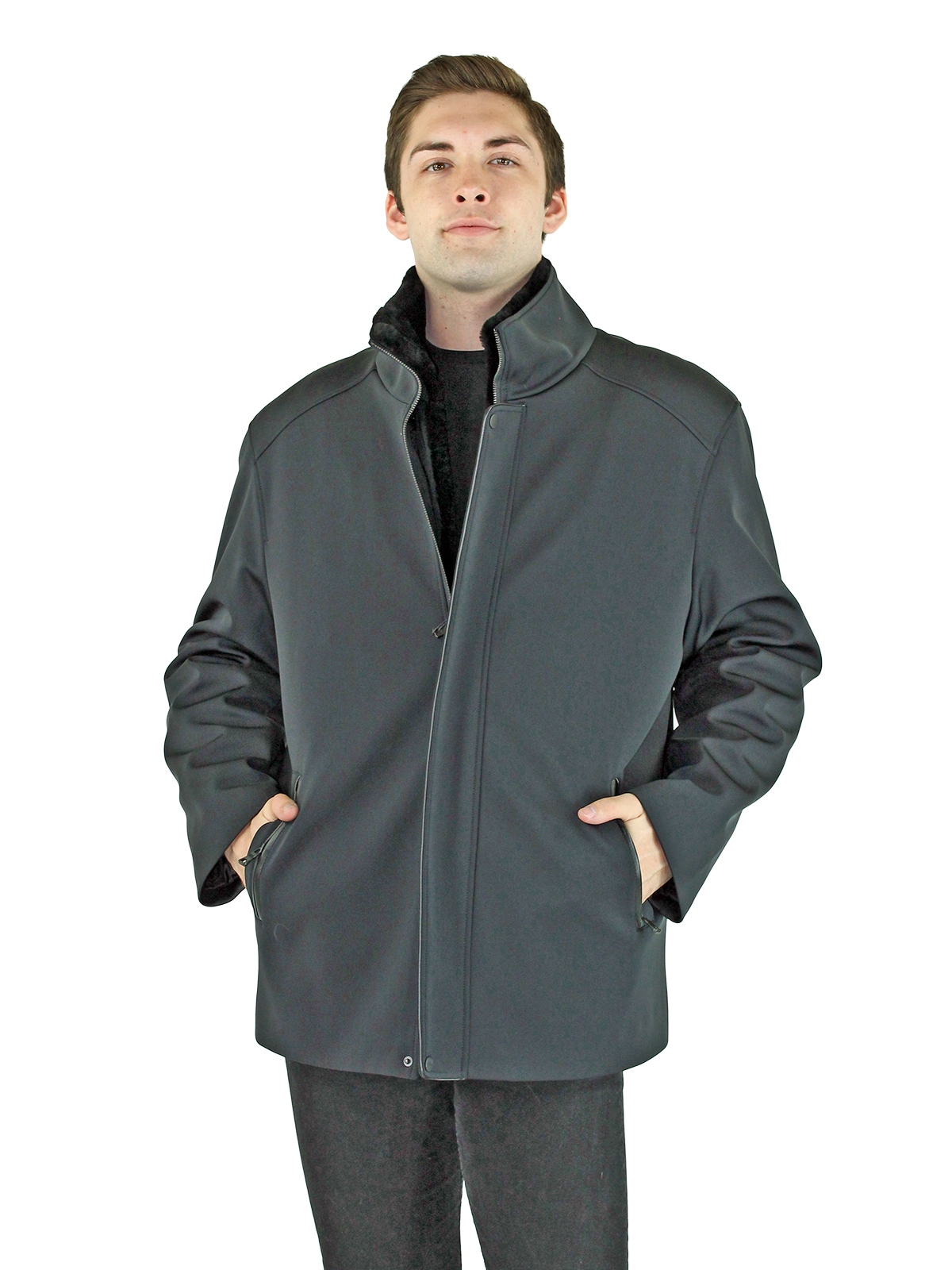 Man's Black Fabric Jacket with Zip Out Black Shearling Lamb Lining