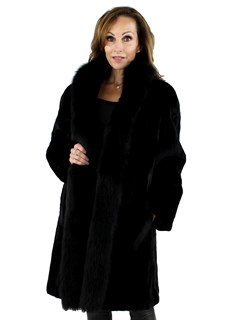 Woman's Black Sheared Section Mink Fur Stroller