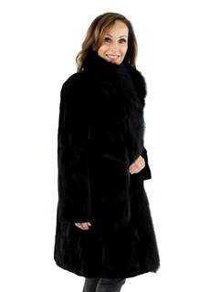 Woman's Black Sheared Section Mink Fur Stroller