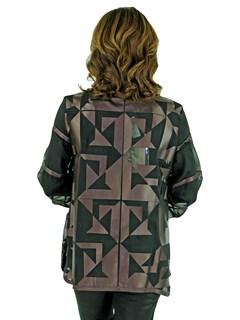 Women's Metallic Purple Leather and Black Sheer Fabric Fashion Jacket