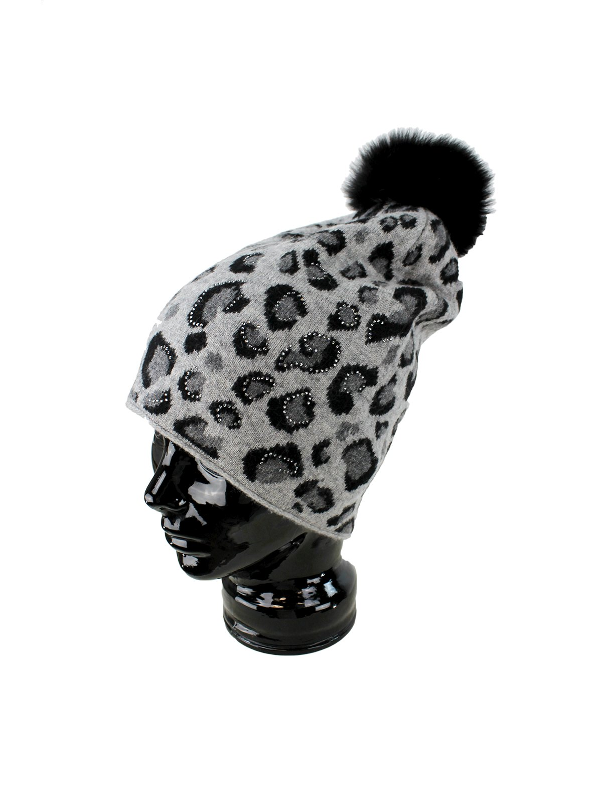 Woman's Black and Grey Animal Print Wool Knit Hat with Fox Fur Pom Pom