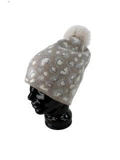 Woman's Beige Animal Print Wool Knit Hat with Fox Fur Pom Pom
