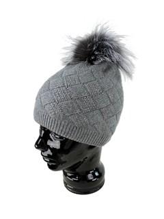 Woman's Grey Knit Hat with Fox Fur Pom Pom
