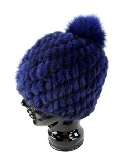 b4fdb0e4d1b Navy Womens Knit Mink Fur Hat with Fox Fur Pom Pom