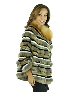 Woman's Beige and Black Rex Rabbit and Fox Fur Cape with Red Fox Collar