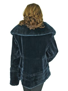Gorski Woman's Navy Rex Rabbit Fur Jacket Reversible to Black Taffeta
