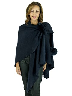 Woman's Navy Wool Knit Wrap with Fox Fur Trim
