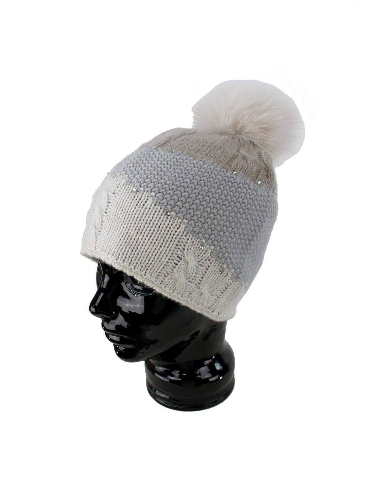Woman's Cream, Beige and Grey Wool Knit Hat with Fox Fur Pom Pom