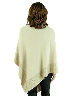 Woman's Beige Knit Fashion Poncho