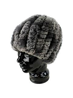 Woman's Evening Mist Knit Rex Rabbit Fur Hat