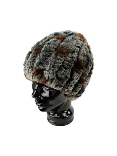 Woman's Cognac Mix Knit Rex Rabbit Fur Hat