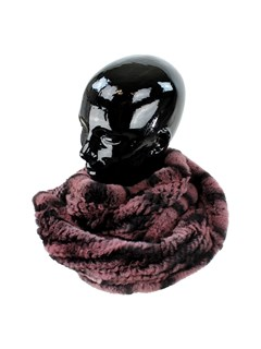 Woman's Black and Cherry Rex Rabbit Fur Infinity Scarf