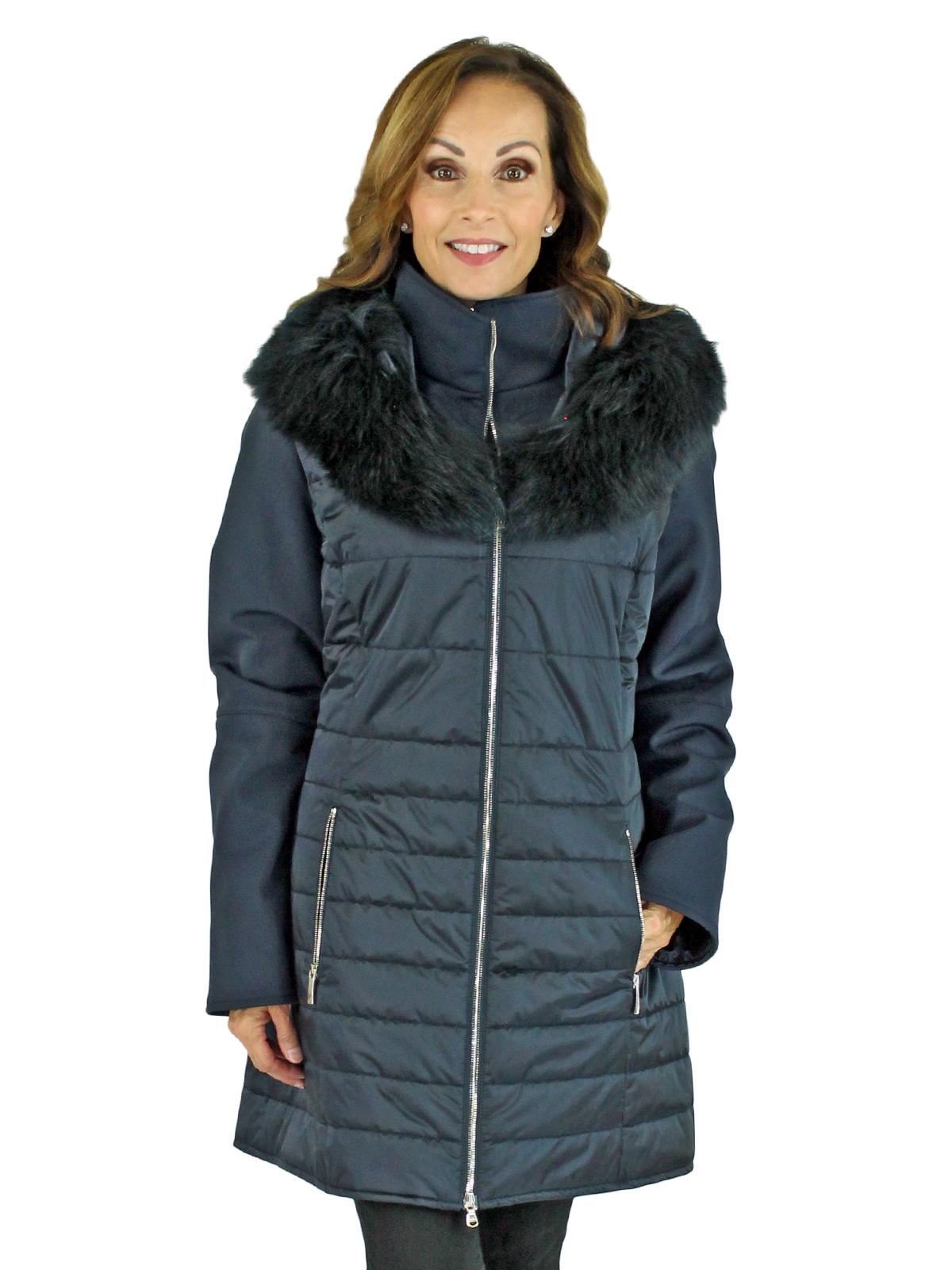Woman's Navy Fabric Ski Parka with Finn Raccoon Fur Trim