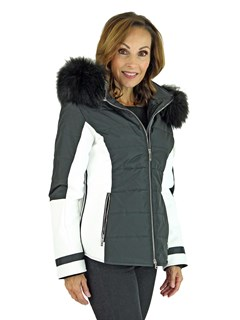 Woman's Black and White Insulated Fabric Ski Parka with Finn Raccoon Fur Trim