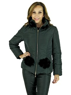 Woman's Black Quilted Fabric Zipper Jacket with Matching Mink Fur Trim