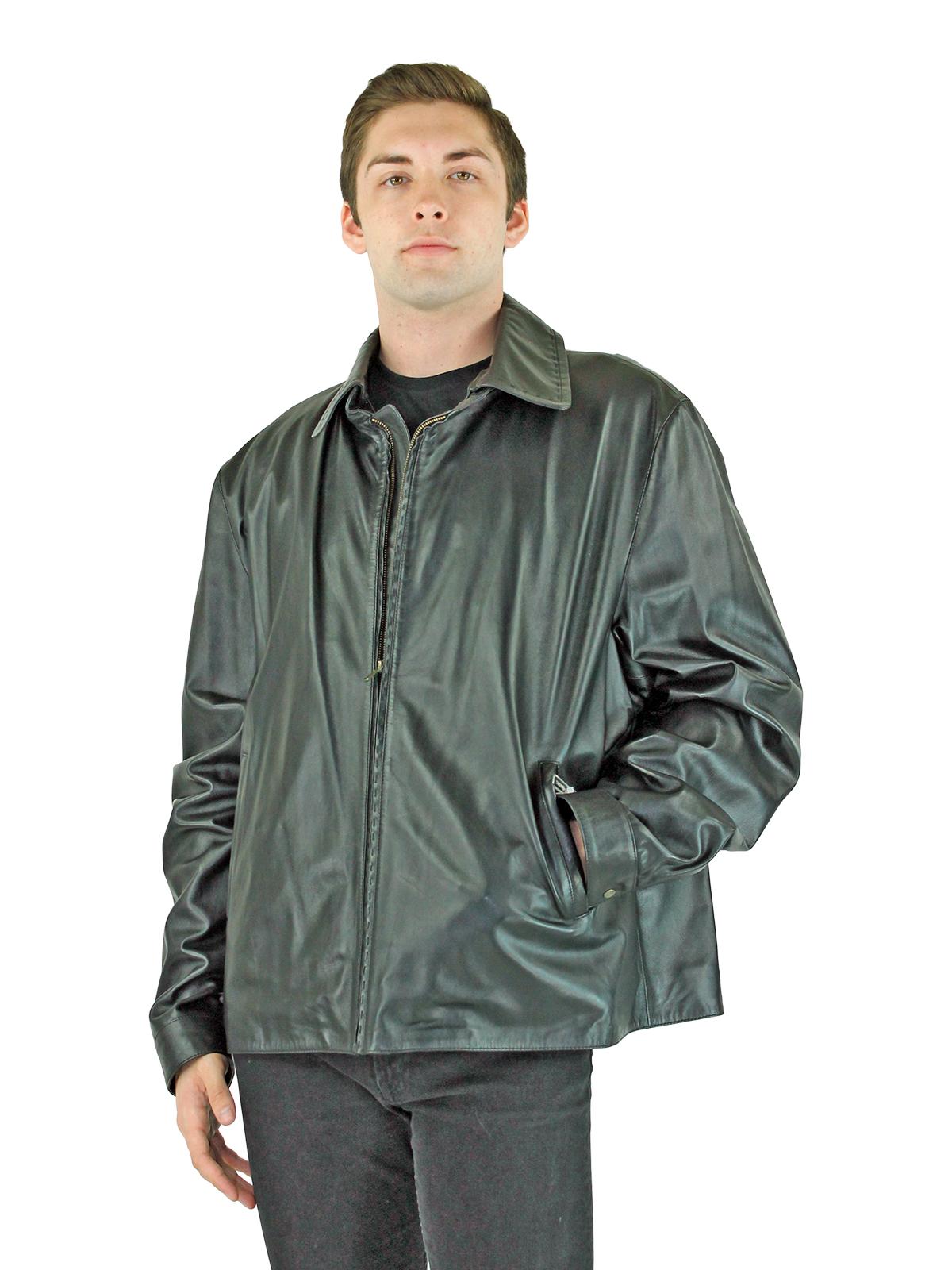 Man's Black Leather Zipper Jacket