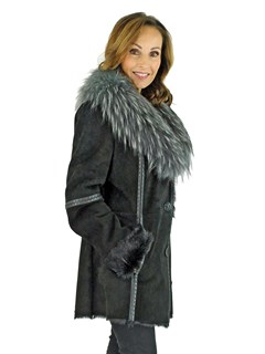 Woman's Black Goat Suede Jacket with Grey Finn Raccoon Fur Collar