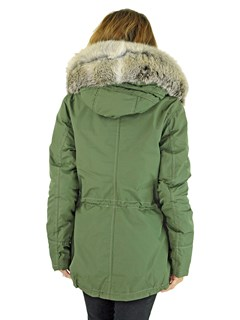Gorski Woman's Sage Green Parka with Fox Trim and Detachable Down Vest