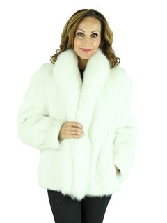 Woman's Bleached White Mink Fur Jacket