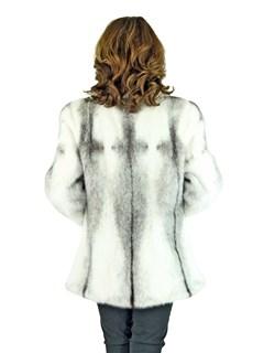 Woman's Natural Cross Mink Fur Jacket