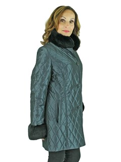Woman's Navy Blue Quilted Taffeta Jacket with Rex Rabbit Fur Trim