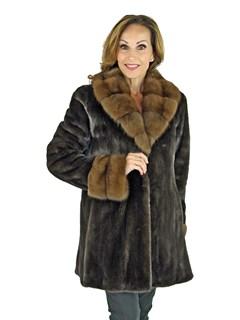 Woman's Blackglama Mink Fur Stroller with Sable Fur Trim