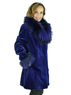 Woman's Royal Blue Sheared Mink Fur Stroller