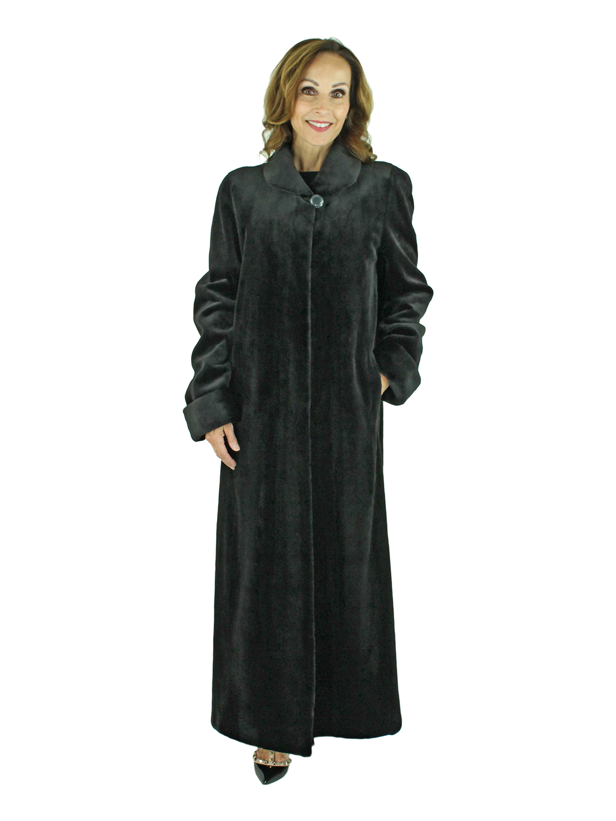 Woman's Black Sheared Mink Fur Coat