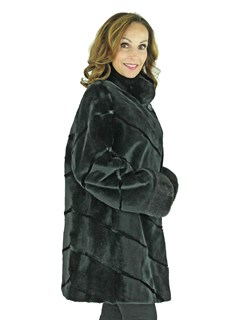 Woman's Black Sheared Mink Fur Stroller