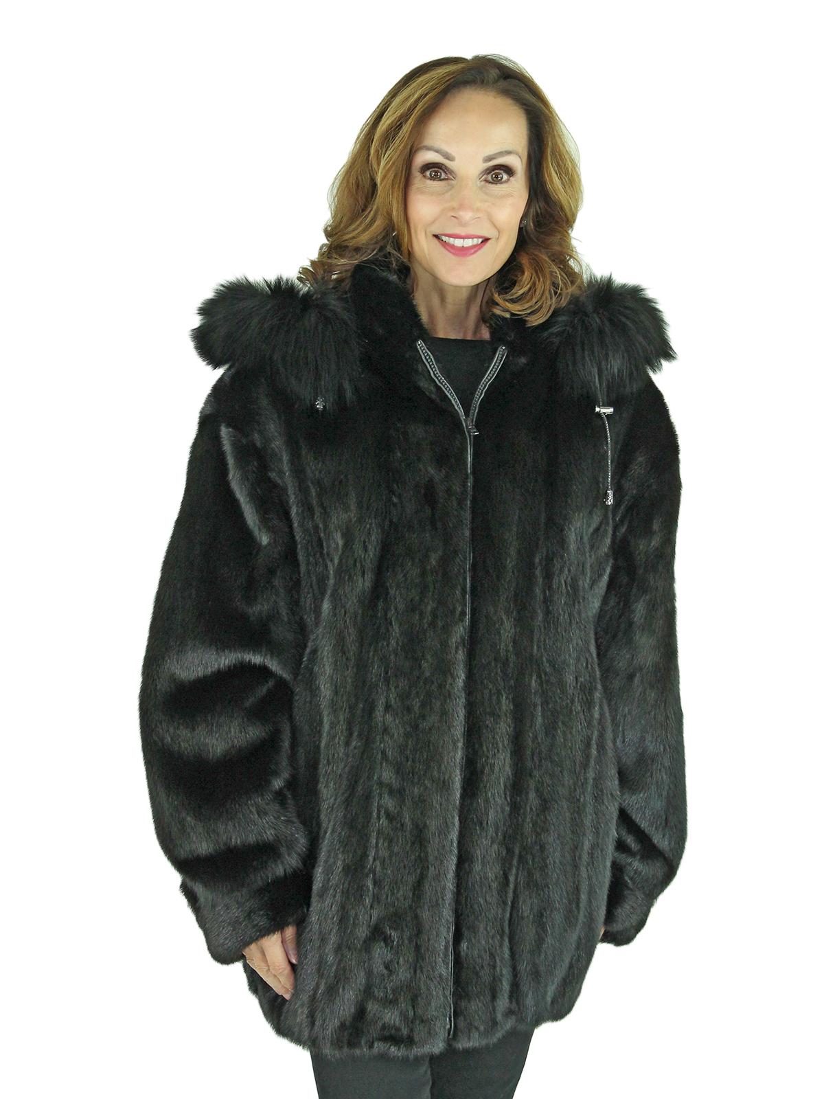 Woman's Black Mink Fur Parka