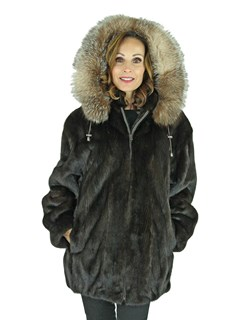 Woman's Mahogany Mink Fur Parka