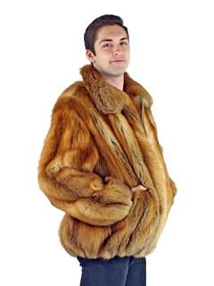Man's Natural Red Fox Fur Stroller