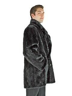 Man's Black Sheared Mink Tails Fur Stroller