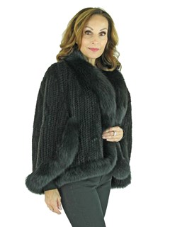 Woman's Black Knitted Mink Fur Cape