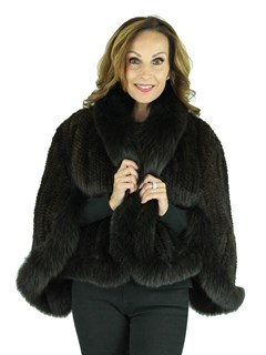 Woman's Mahogany Knitted Mink Fur Cape